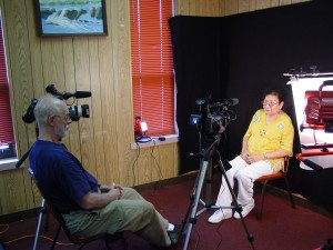 Donald L. Vasicek interviewing Cheyenne woman and Sand Creek Massacre descendant, Colleen Cometsevah, on location in Clinton, Oklahoma for his award-winning Sand Creek Massacre documentary film